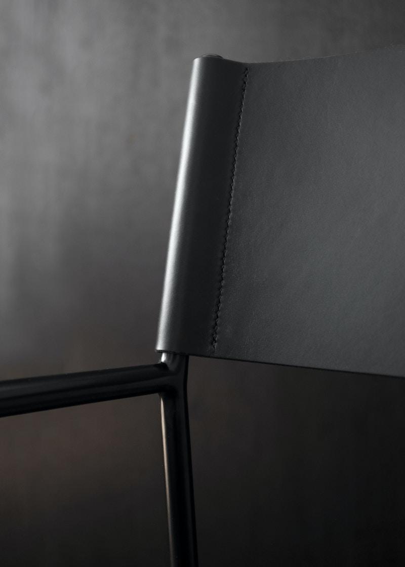 Metal Armchair - Allingham Chair - Black Leather