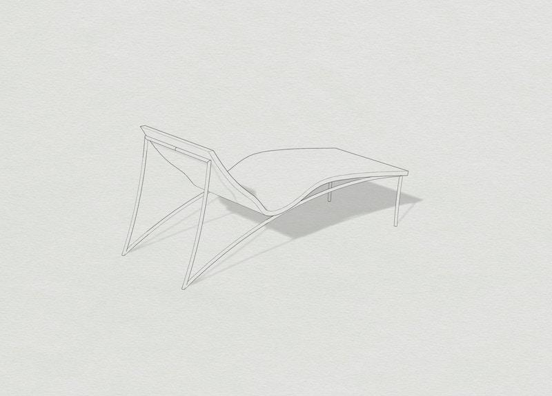 Metal Lounger - Cork Lounger - Contemporary Chaise Longue