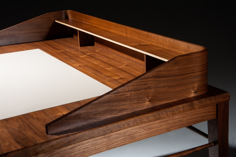 Bespoke handmade Walnut desk - Christian Watson Bespoke Furniture Services