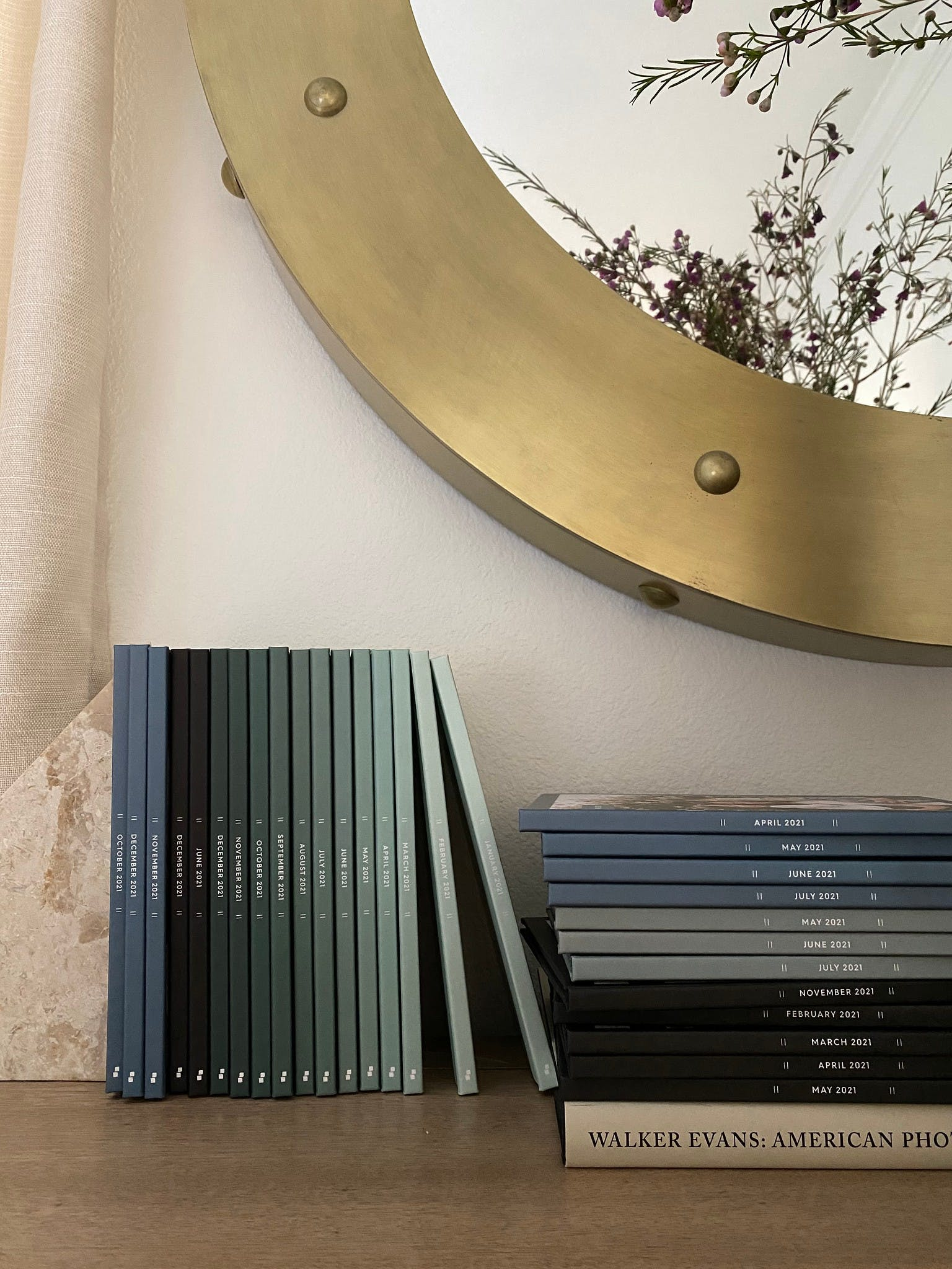 Monthbook on bookshelf