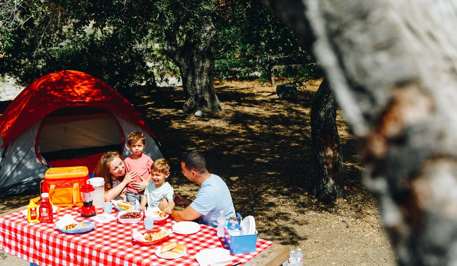Family camping and picnic