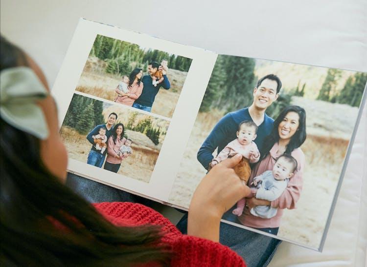 layflat photo album showing family portrait during holidays