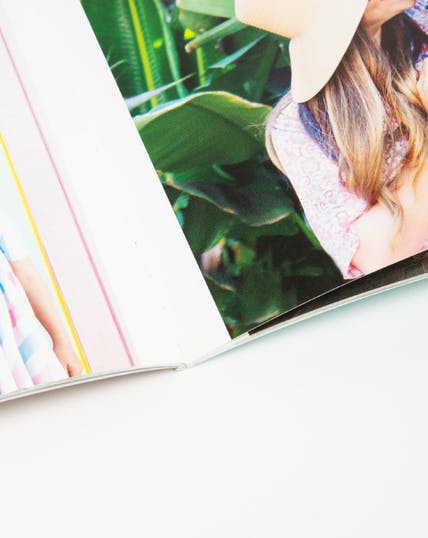 close up of binding on monthly photo book
