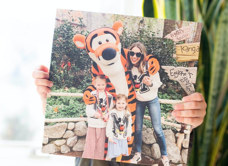 photo tile of family on vacation at Disney World