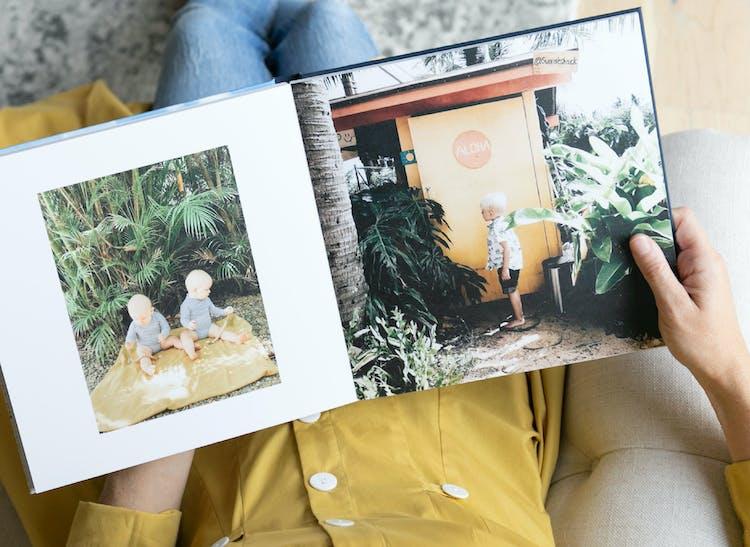 layflat photo album showing kids on vacation