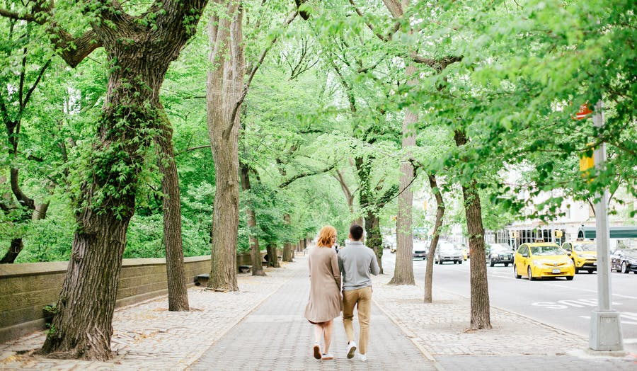 Married couple walking together