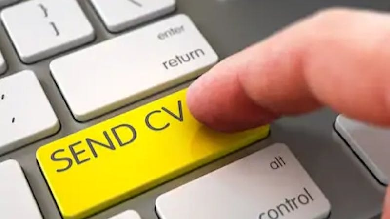A job applicant about to send out a CV to a potential employer