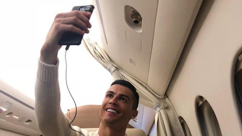 Cristiano Ronaldo taking a selfie inside his  £20m private Gulfstream G200 jet
