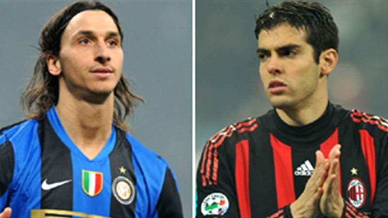 Zlatan Ibrahimovic and Kaka in Milan jersey