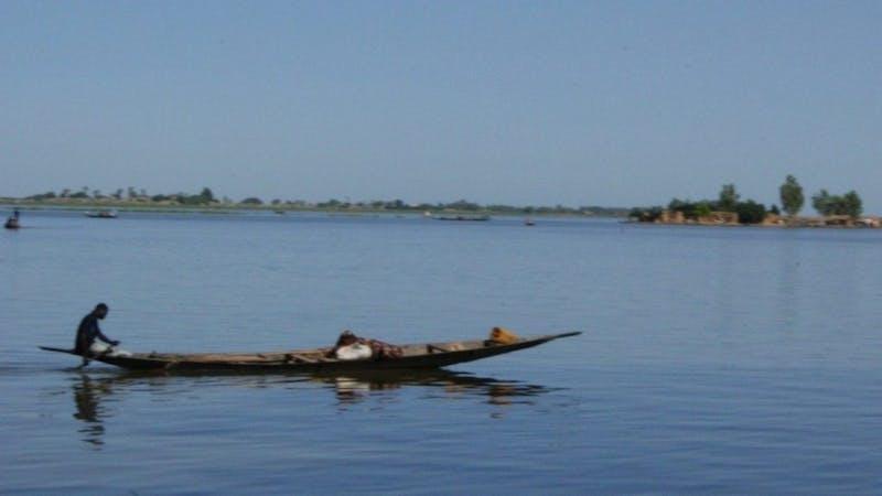 A boat sailing on the sea