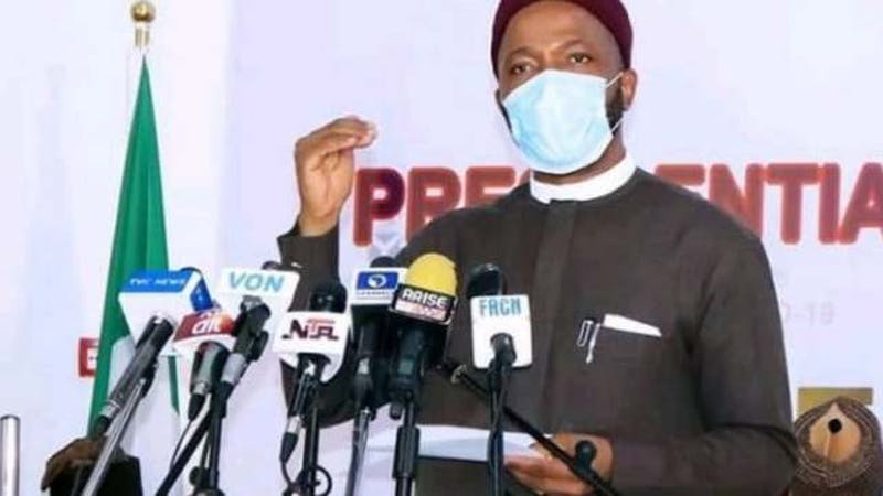 The Nigerian minister of education Emeka Nwajiuba during the briefing of the Presidential Taskforce on COVID-19