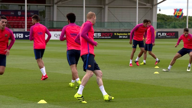 Barcelona players during a training session