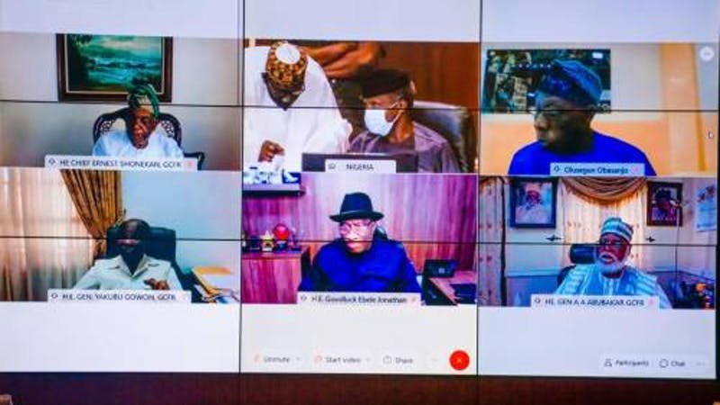 President Muhammadu Buhari holds virtual meeting with former heads of state amidst EndSARS protest
