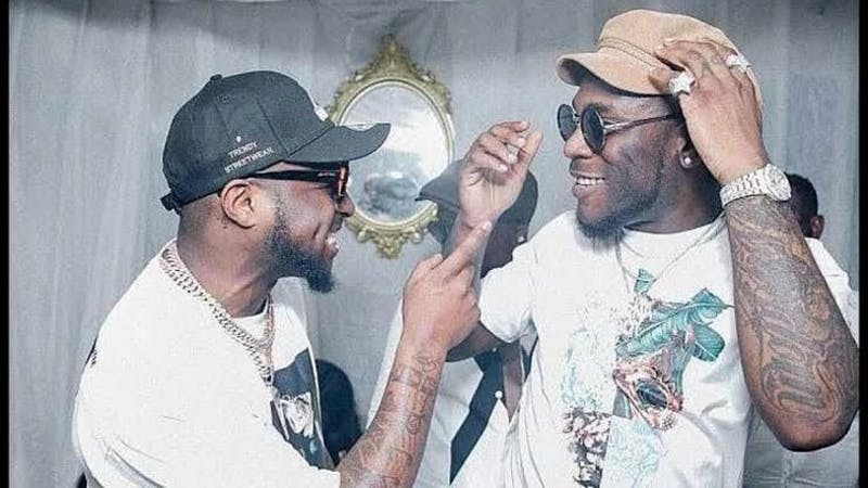 Nigeria Music star, Davido chilling with his frenemy Burnaboy before a Music concert.