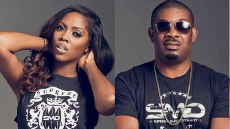 Nigeria artists, Tiwa Savage and Don Jazzy  who was invited for questioning by the DSS over social media post