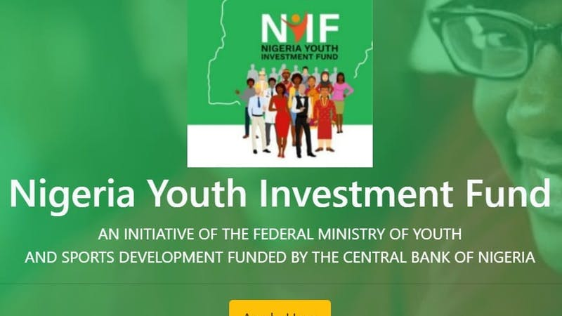 Portal for The National Youth Investment Fund application 2020.