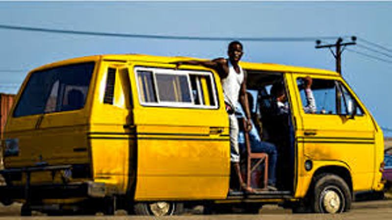 Commercial bus known as Danfo who engaged in a protest today as they clash with the Task force