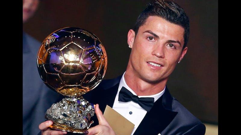 Ronaldo's with his Ballon d' Or award