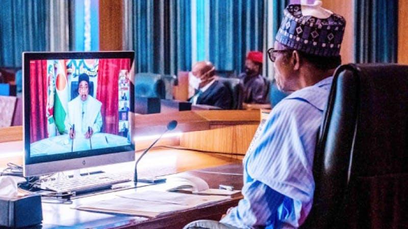 President Muhammadu Buhari presiding over a meeting
