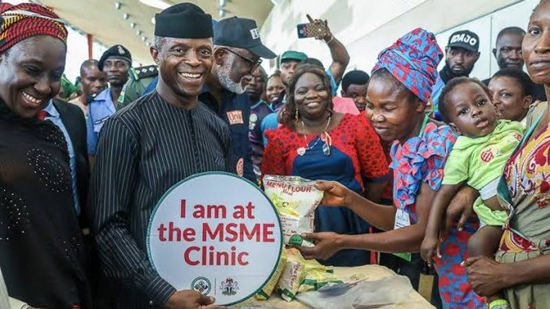 Vice President Yemi Osinbajo visits beneficiaries of MSME Survival Funds