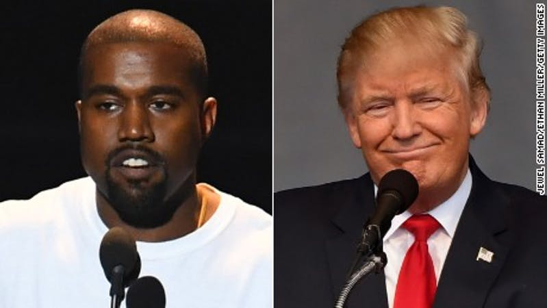 Musician, Kanye West and the President of the United States, Donald Trump