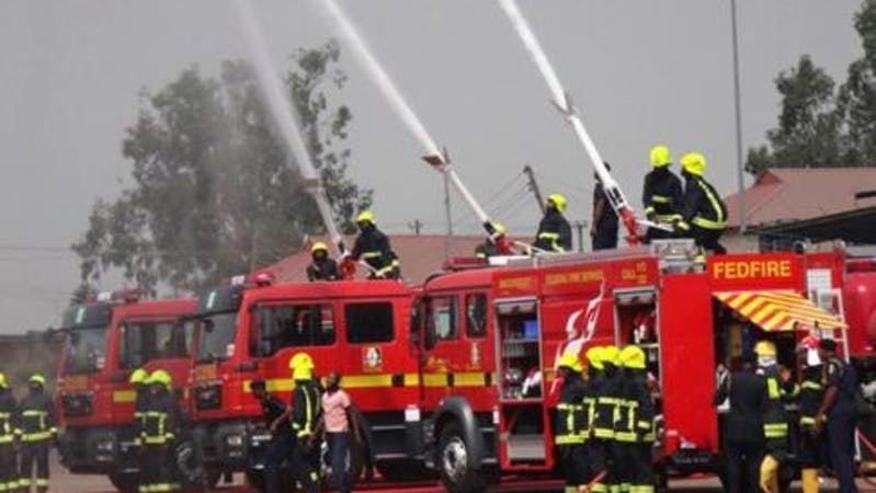 FCT Abuja fire service at work during a fire outbreak