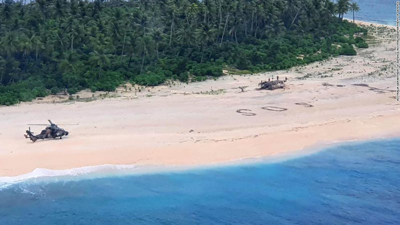'SOS' message written on beach sand saves Pacific Island mariners