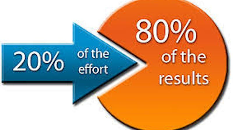 Pareto's Principle which states that 20% input or effort accounts for 80% yields, results or output.