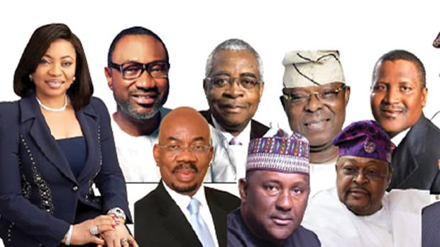 A List of Nigerian Billionaires including Alakija, Otedola, Danjuma, Oba Otudeko, Dangote, Tinubu, Ovia, Rabiu, Adenuga and Elumelu.