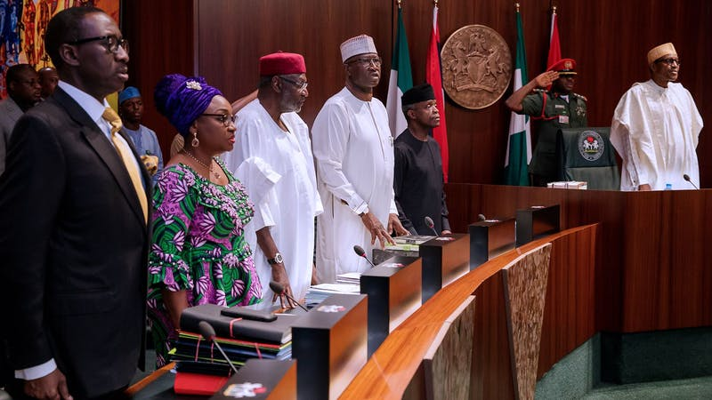 President Buhari in a meeting with the federal council