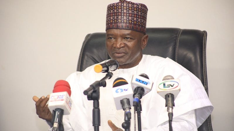 Minister of environment Abubakar during Presidential Task briefing