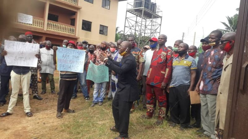 Ekwulobia community  protest over diversion of COVID-19 by a clergy and others