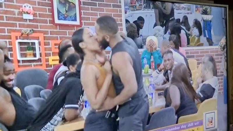 Kiddwaya  and Erica kissing during Truth and Dare