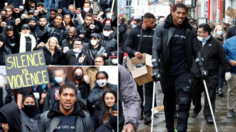 Heavyweight champion Anthony Joshua during Watford protest against racism