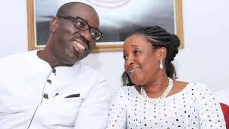 Edo state governor, Godwin Obaseki and his wife, Betsy Obaseki accused by APC of disrupting the party's medical outreach programme within the state
