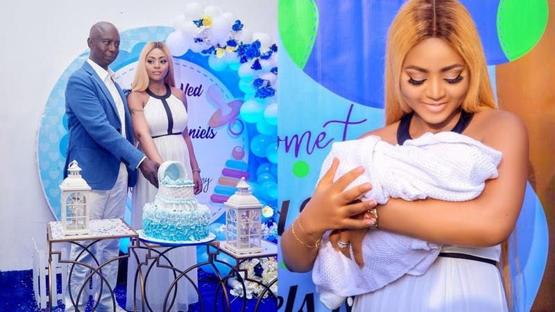 Actress regina Daniels carrying her new baby