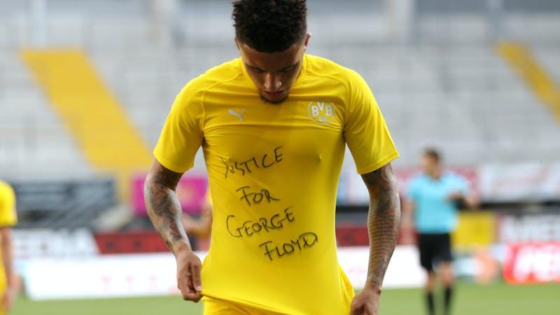 Borussia Dortmund winger Jadon in goal celebration sicking justice for Floyd