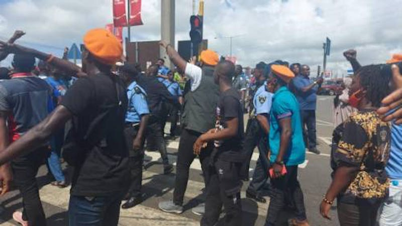 "About 21 RevolutionNow protesters were arrested in the Maryland area of Lagos on Thursday and were detained at the ""Area F"" Police Station, Ikeja."