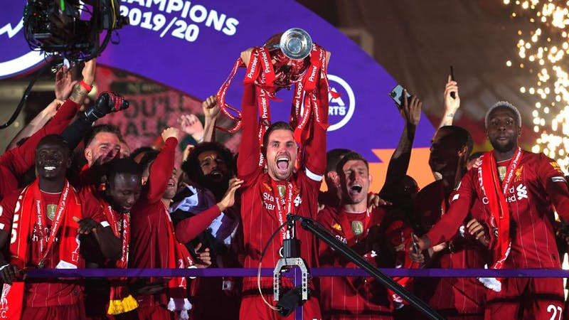 Liverpool players celebrating their Premie League title