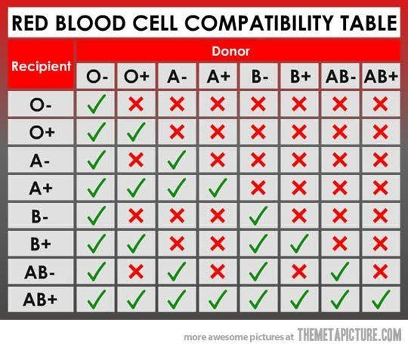 What blood types match