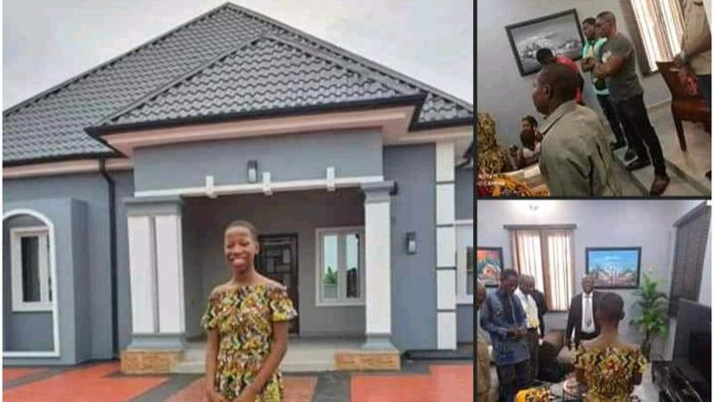 Nigerian young comedian Emmanella has built a house for her mother
