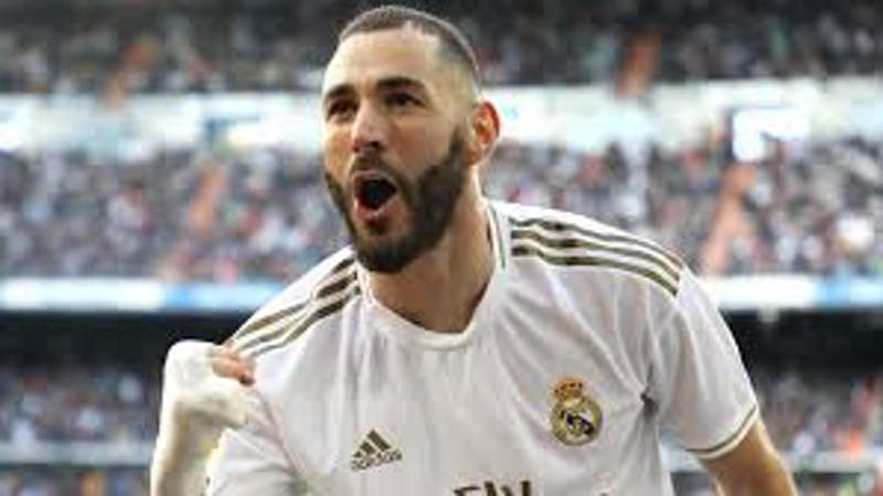 Real Madrid Kareem Benzema celebrating his goal for the club