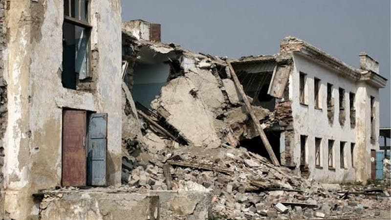 A collapsed building