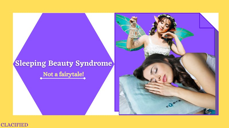 A woman with sleeping beauty syndrome (kleine-levin) syndrome sleeping peacefully with a pillow underneath her head and a fairy behind her
