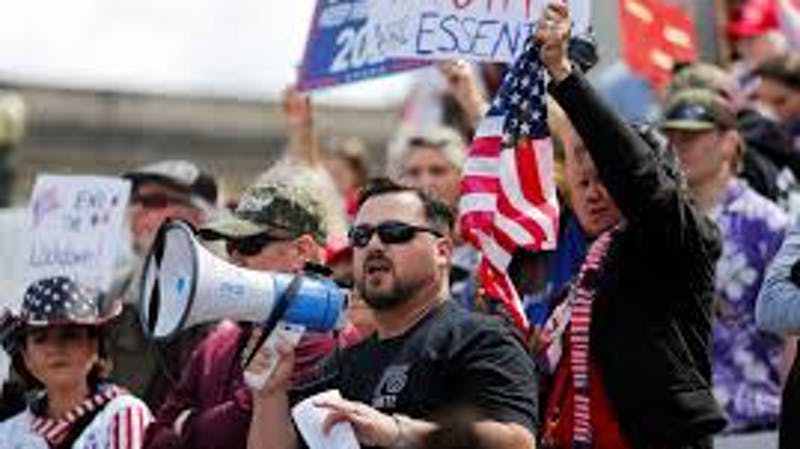 Image of USA protestors at the state  capitol Washington