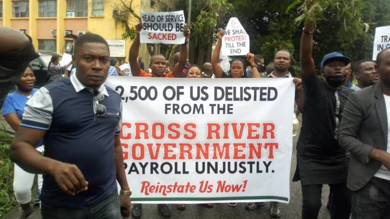 Civil Servants whose names were delisted by the Ayade led administration shut down the state by carrying different placards to register their grievances