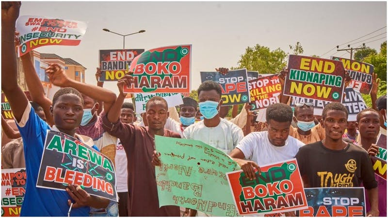 Northern youths have taken to the streets to protest against insecurity in the north