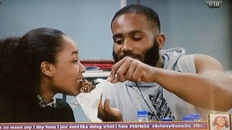 Erica and Kiddwaya of BBNaija feeding each other