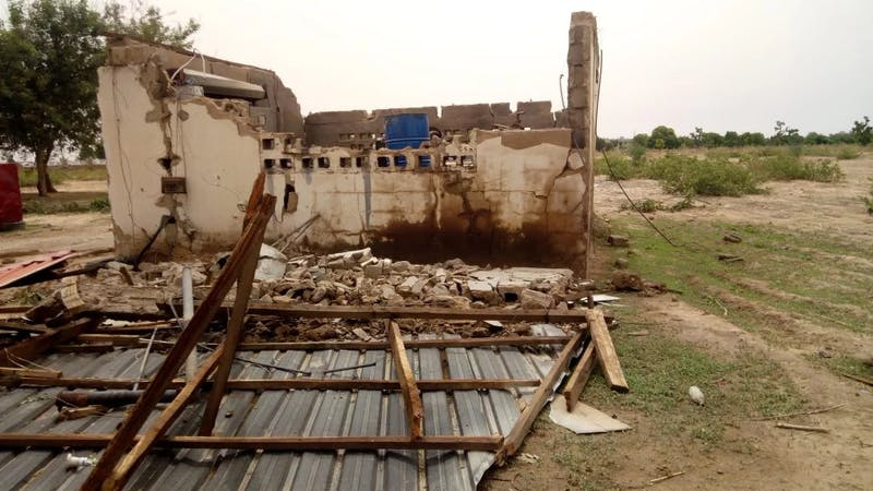 Houses destroyed by a rainstorm in Yobe State
