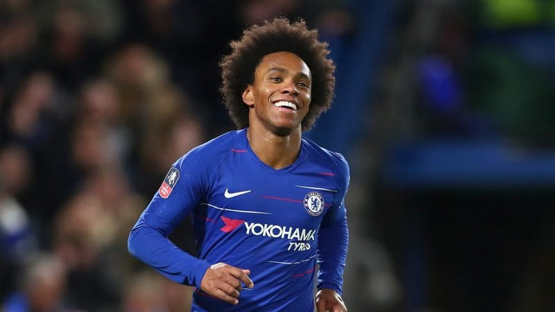 Former Chelsea winger Willian celebrates his goal for the club